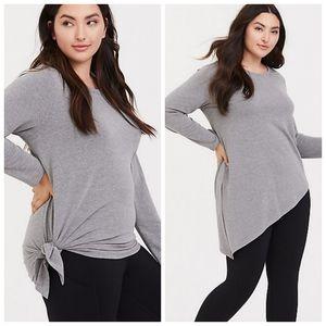 Torrid Grey Asymmetrical Terry Active Sweatshirt